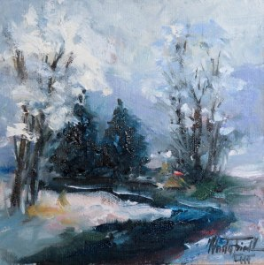 still wintertime, oil on panel, 6x6 inches