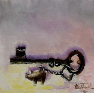 the key for luck, oil on panel, 8x8 inches