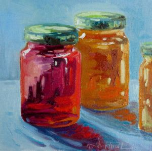 homemade jam, oil on panel, 8x8 inches