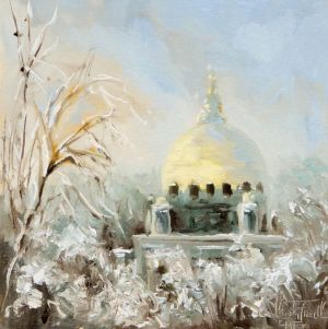 Golden dome, oil on panel, 8x8 inches
