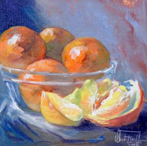 Tangerines, oil on panel, 8x8 inches