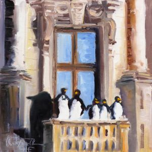 five penguines on a balustrade, oil on panel, 8x8 inches