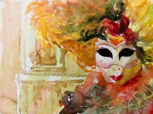 Venetian Carneval Mask, watercolor, 12x16 inches