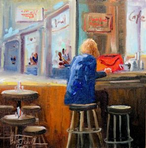 Alone in a Cafe, oil on panel, 8x8 inches