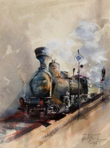 old steam engine, watercolor, 15x11 inches