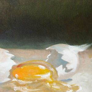 Broken Egg, oil on panel, 8x8 inches