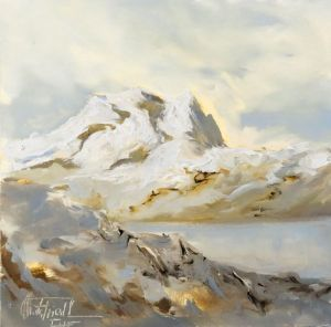 Backlight in die Alps, oil on panel, 7,9x7,9 inches