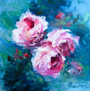 Roses for Valentine´s Day, oil on panel, 7,9x7,9 inches