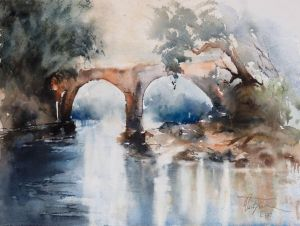old stone bridge, watercolor, 30x40 cm
