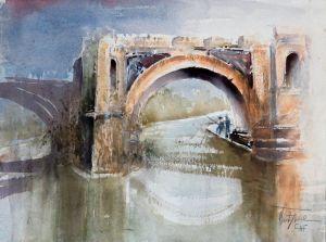Pons Aemilius, watercolor, 30x40 cm