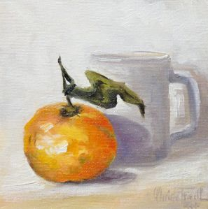 Tangerine and white mug, oil on panel, 6x6 inches