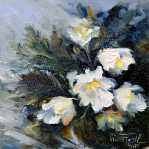 wild Christmas Roses, oil on panel, 6x6 inches