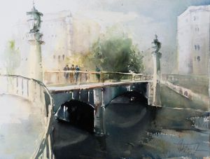 Bridge over the Vienna River, watercolor, 30x40 cm