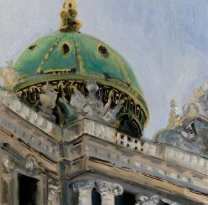 Dome of the Imperial Palace in Vienna, oil on panel, 8x8 inches
