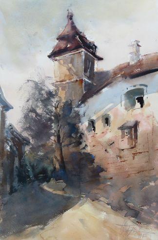 Castle Bernstein, Burg Bernstein, watercolor, 56x38 cm