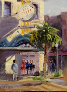 The old Opera House, Arcadia, oil on panel 12x9 inches