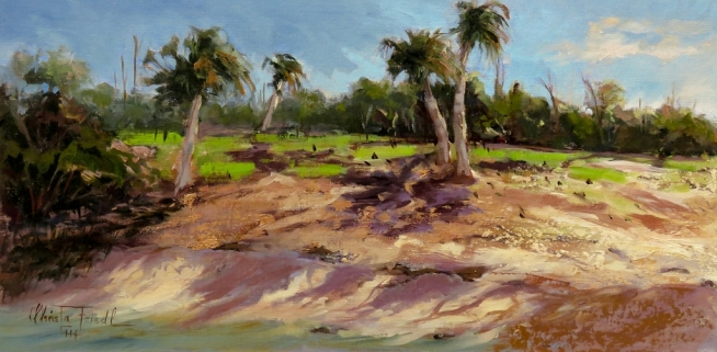Low Tide at the Beach, oil on panel, 12x24 inches