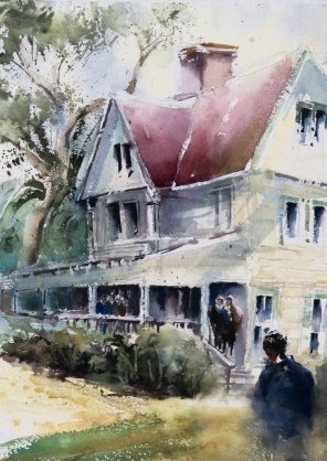 Mound House, watercolor, 16x12 inches