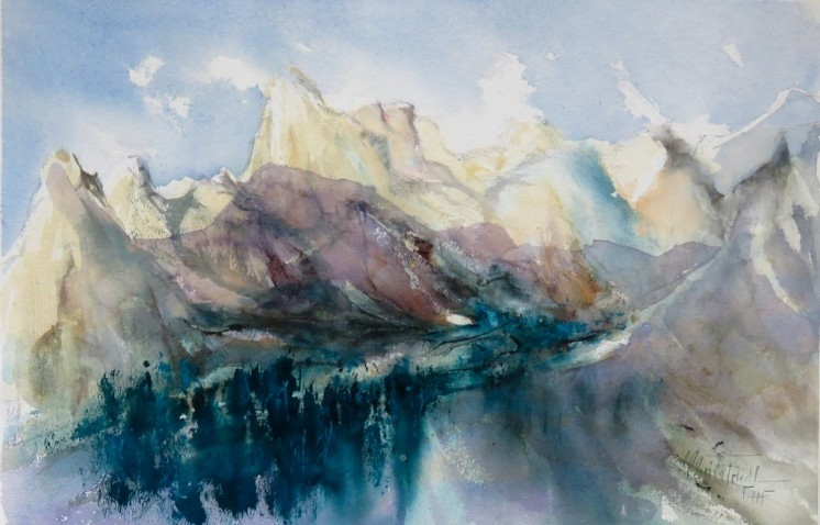 am Rofan, watercolor, 15x22 inches