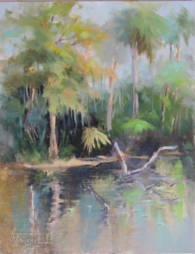 Shell Creek,Florida, oil on board, 14x11 inches