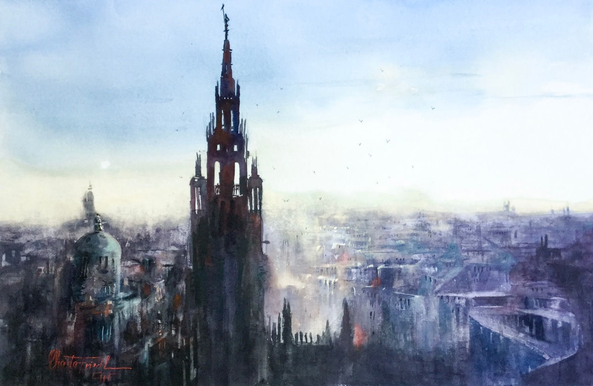 Rooftops Vienna, watercolor, 15x22 inches