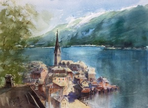Hallstatt, watercolor, 11x15 inches