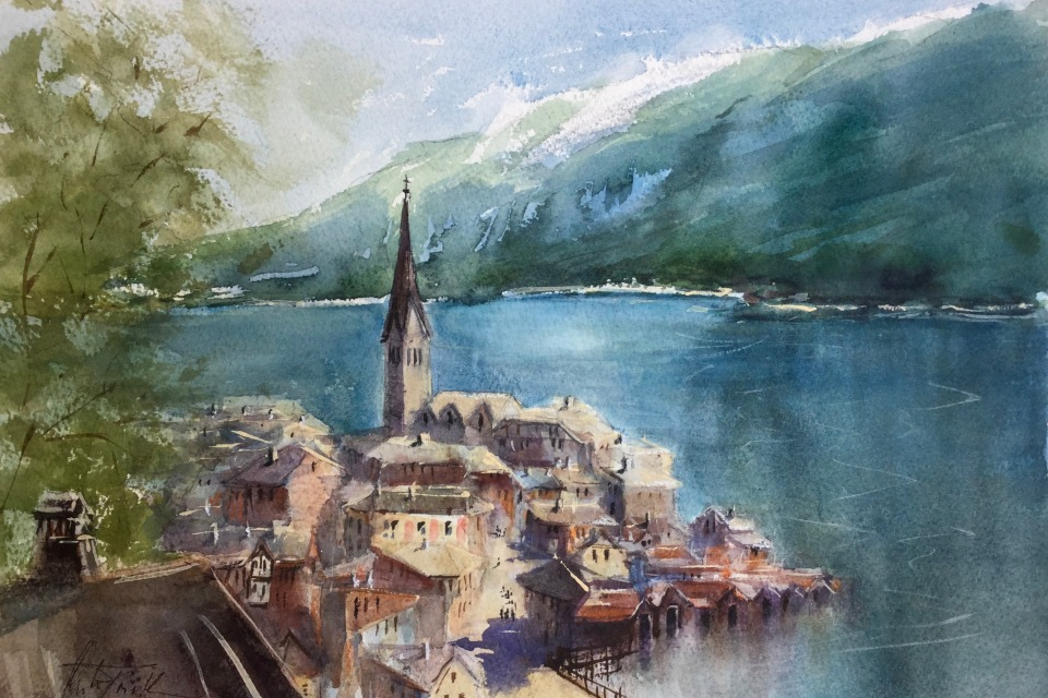 Hallstatt, watercolor, 11x15 inches