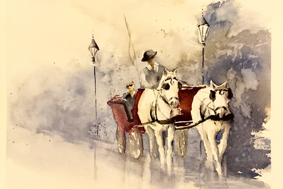 A Fiaker Ride in Vienna, watercolor, 8x12 inches