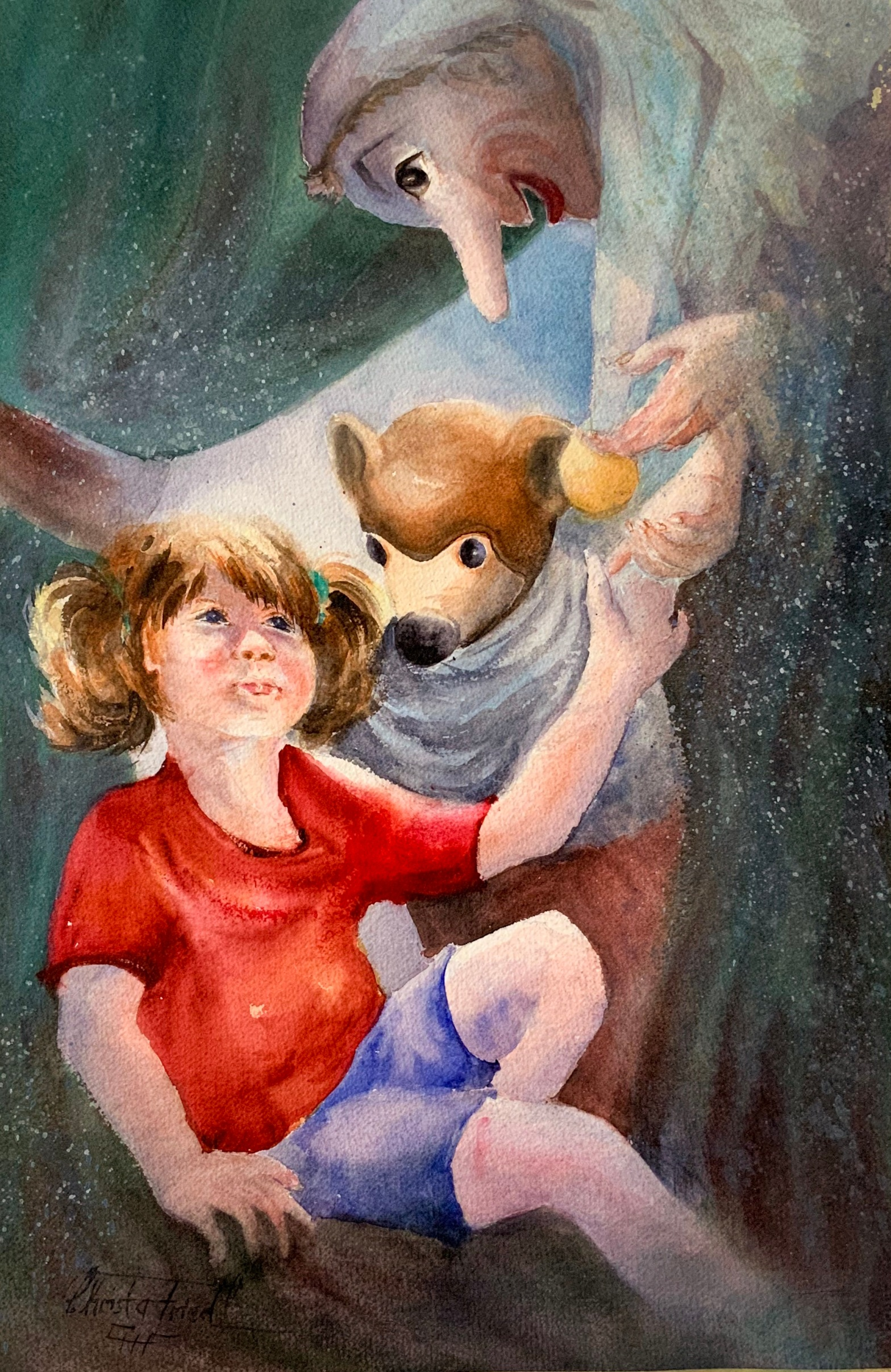 Childhood heroes - puppets, watercolor, 22x15 inches