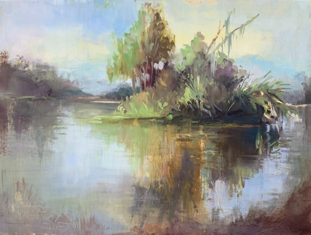 Swampy pond, oil on panel, 9x12 inches