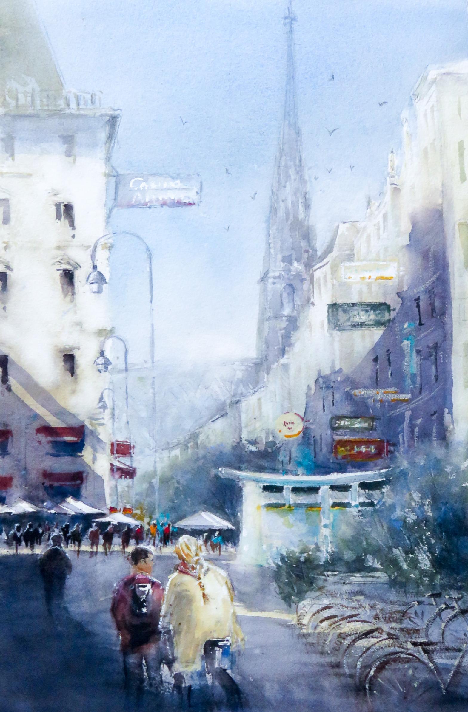 Steffl Vienna, watercolor, 56x38 cm
