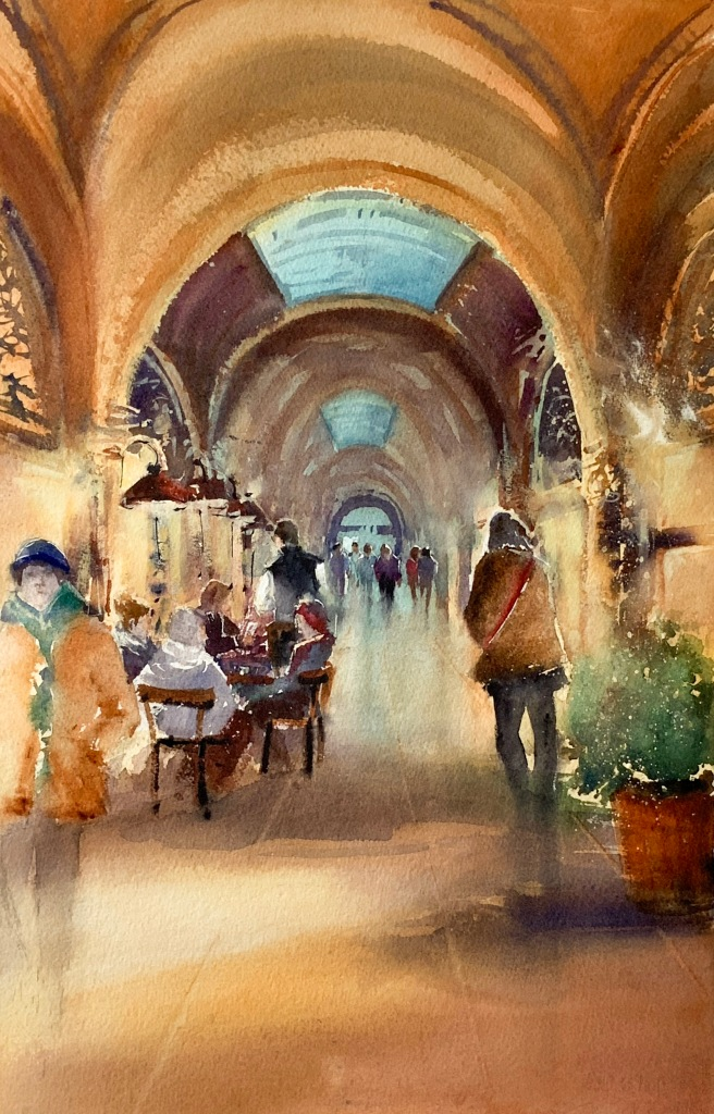 Passage Palais Ferstel, Vienna, watercolors 56x38 cm