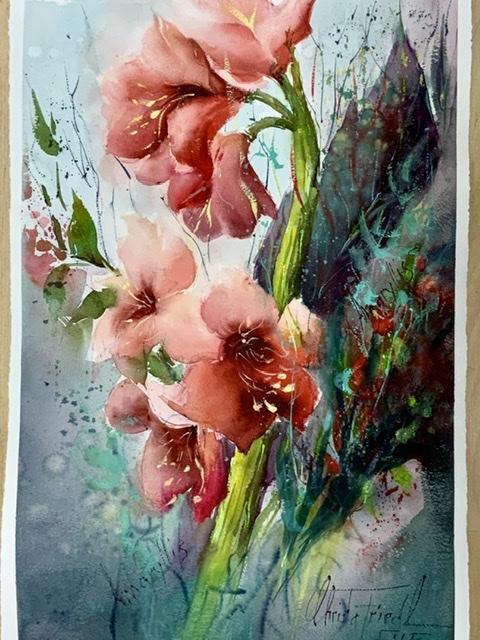 Amaryllis, watercolor, 56x38 cm
